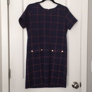 Navy and red plaid dress
